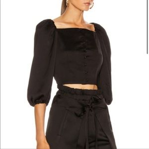 Cult Gaia Petra Button-front Cropped Top Black M